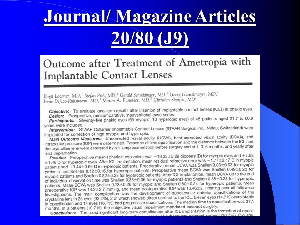 Journal/ Magazine Articles 20/80 (J9)