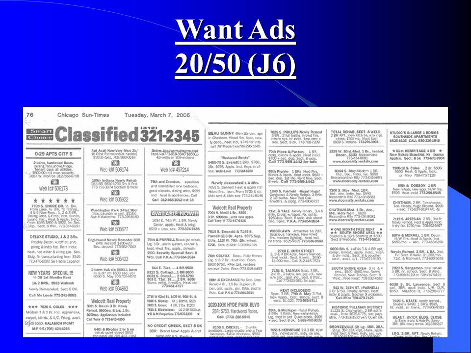 Want Ads 20/50 (J6)
