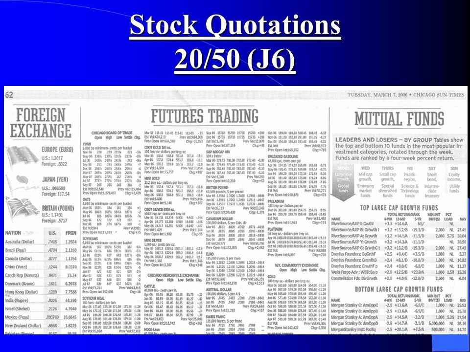 Stock Quotations 20/50 (J6)