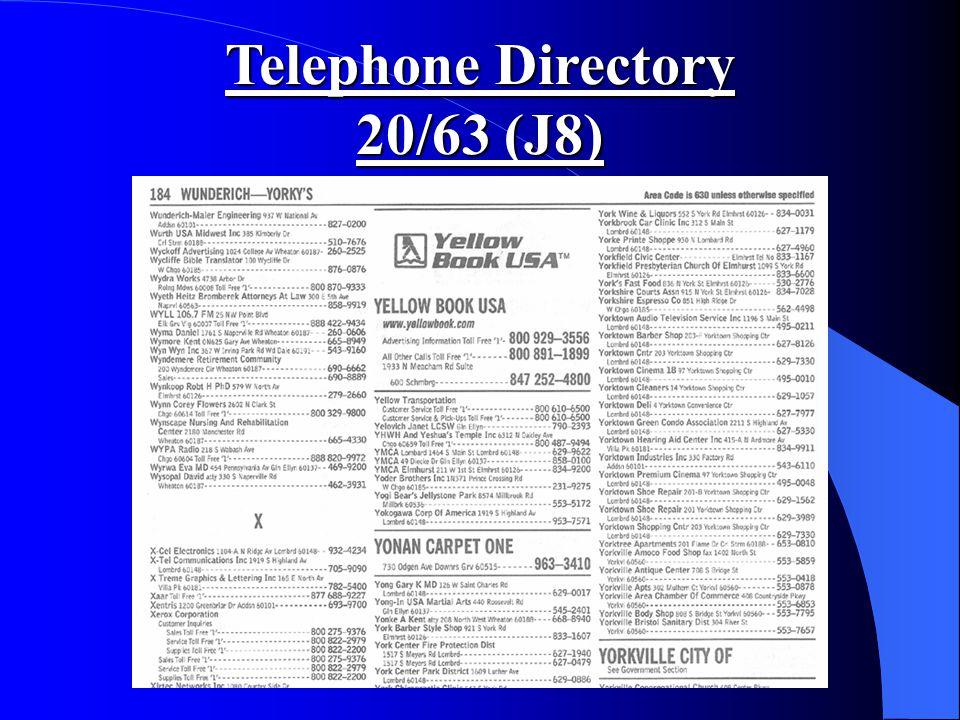 Telephone Directory 20/63 (J8)