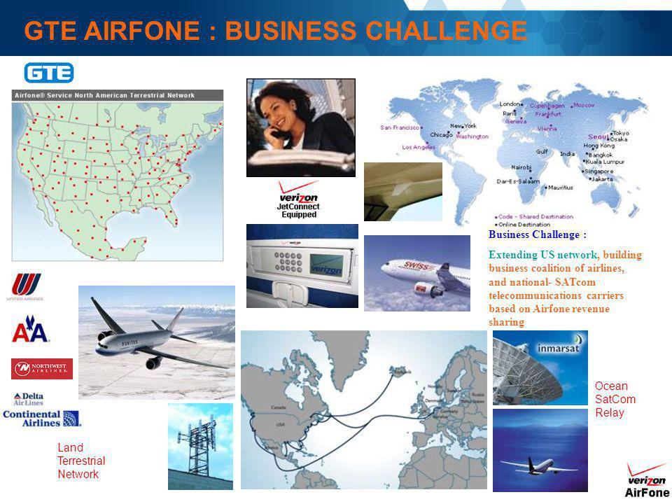 GTE AIRFONE : BUSINESS CHALLENGE Business Challenge : Extending US network, building business coalition of airlines, and national- SATcom telecommunic