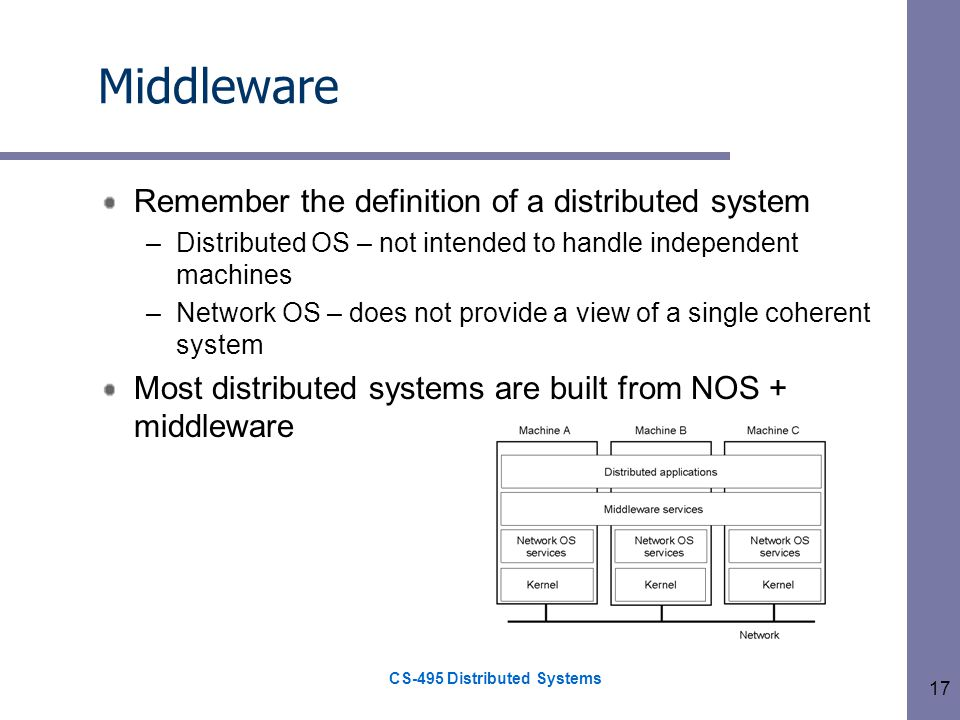 CS-495 Distributed Systems 17 Middleware Remember the definition of a distributed system –Distributed OS – not intended to handle independent machines –Network OS – does not provide a view of a single coherent system Most distributed systems are built from NOS + middleware