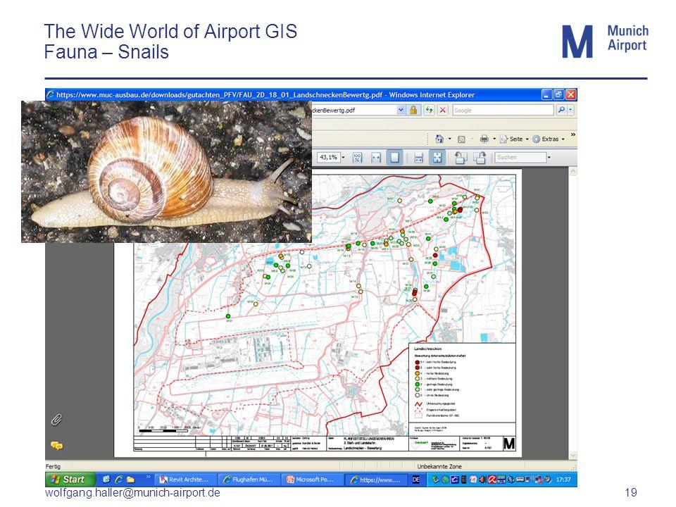 wolfgang.haller@munich-airport.de 19 The Wide World of Airport GIS Fauna – Snails