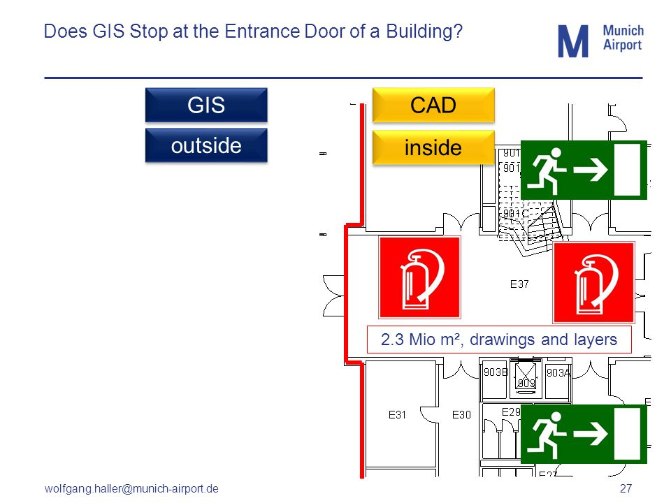 wolfgang.haller@munich-airport.de 27 Does GIS Stop at the Entrance Door of a Building? CAD GIS outside inside 2.3 Mio m², drawings and layers