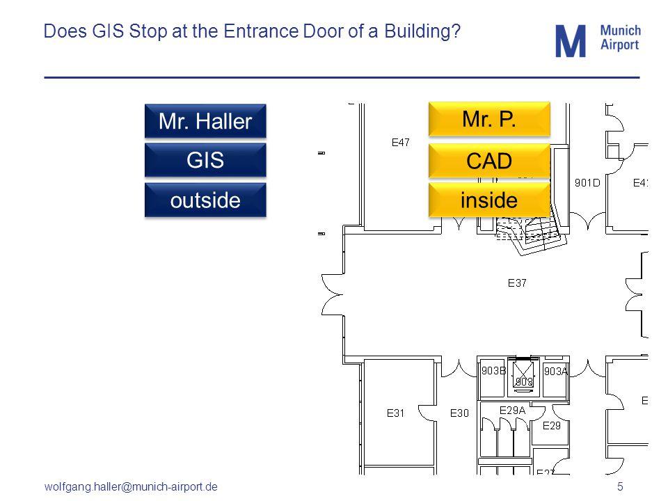 wolfgang.haller@munich-airport.de 5 Does GIS Stop at the Entrance Door of a Building? CAD GIS outside inside Mr. Haller Mr. P.