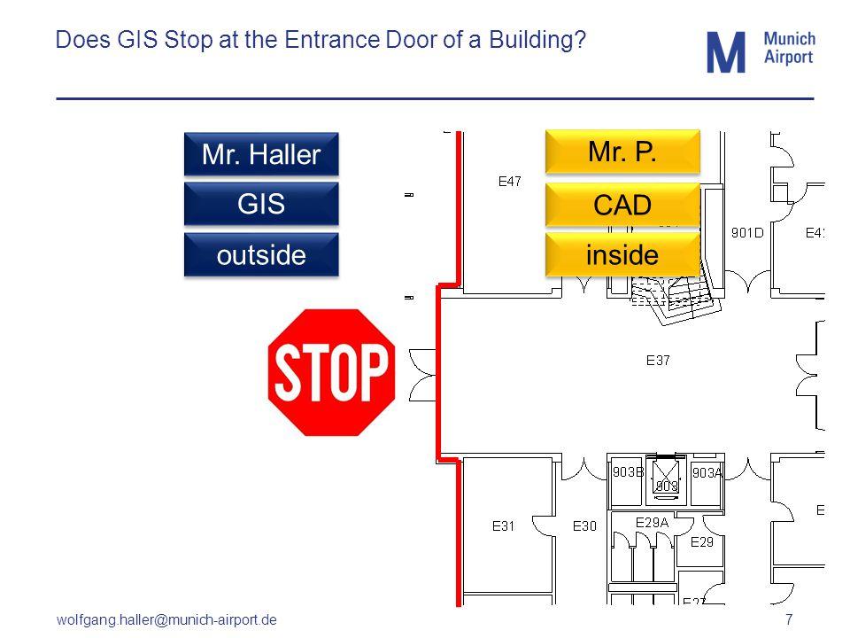 wolfgang.haller@munich-airport.de 7 Does GIS Stop at the Entrance Door of a Building? CAD GIS outside inside Mr. Haller Mr. P.