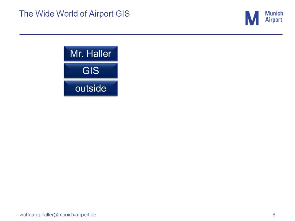 wolfgang.haller@munich-airport.de 8 The Wide World of Airport GIS GIS outside Mr. Haller