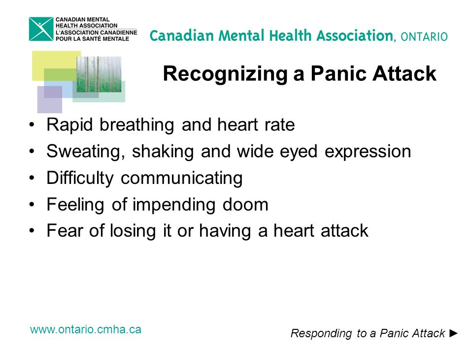 www.ontario.cmha.ca Recognizing a Panic Attack Rapid breathing and heart rate Sweating, shaking and wide eyed expression Difficulty communicating Feeling of impending doom Fear of losing it or having a heart attack Responding to a Panic Attack