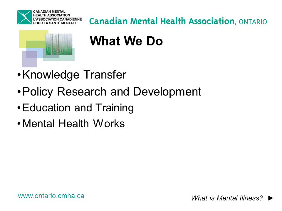 www.ontario.cmha.ca What We Do What is Mental Illness.