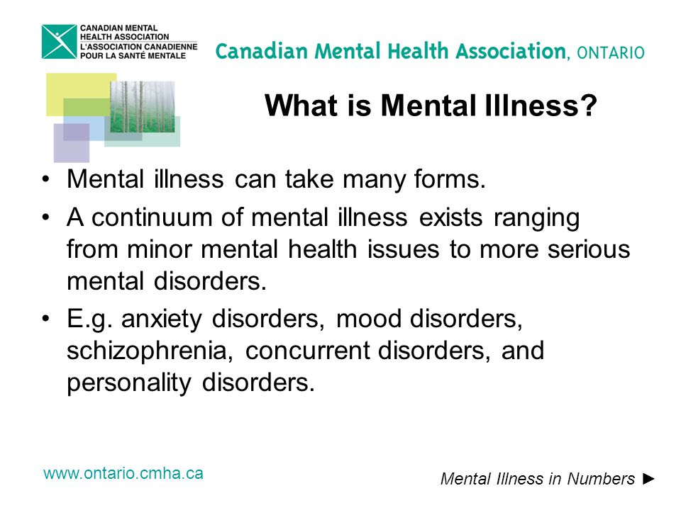 www.ontario.cmha.ca What is Mental Illness. Mental illness can take many forms.