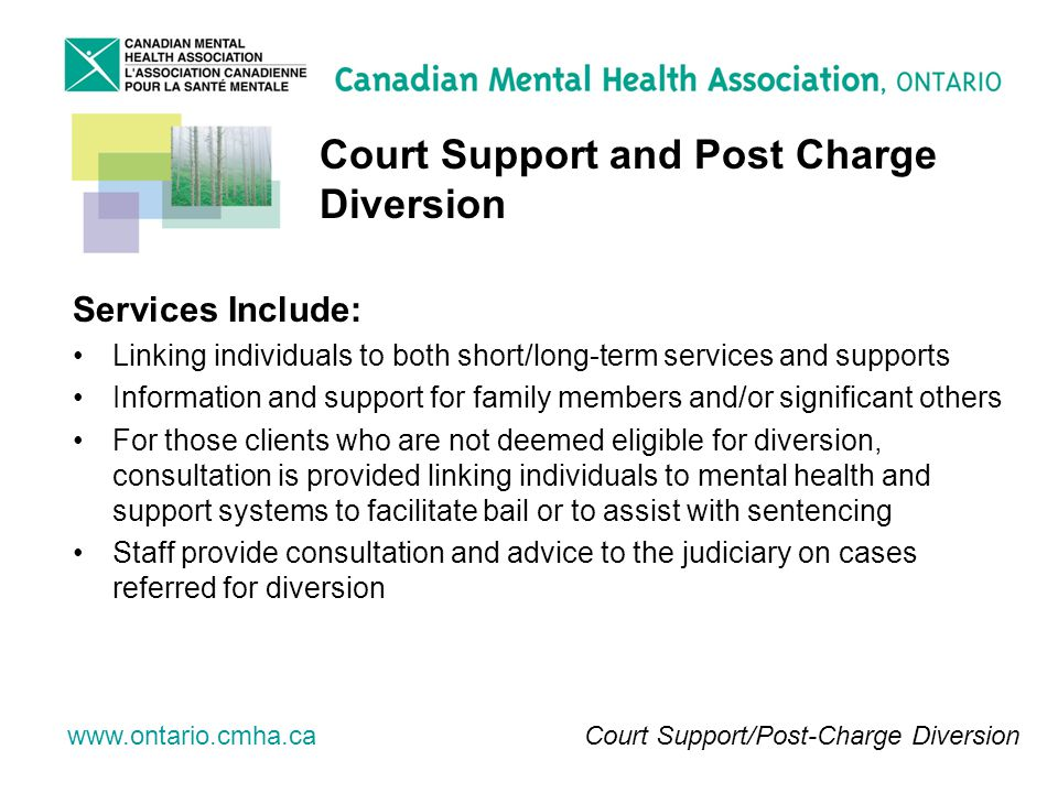 www.ontario.cmha.ca Court Support and Post Charge Diversion Services Include: Linking individuals to both short/long-term services and supports Information and support for family members and/or significant others For those clients who are not deemed eligible for diversion, consultation is provided linking individuals to mental health and support systems to facilitate bail or to assist with sentencing Staff provide consultation and advice to the judiciary on cases referred for diversion Court Support/Post-Charge Diversion