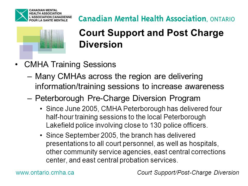 www.ontario.cmha.ca Court Support and Post Charge Diversion CMHA Training Sessions –Many CMHAs across the region are delivering information/training sessions to increase awareness –Peterborough Pre-Charge Diversion Program Since June 2005, CMHA Peterborough has delivered four half-hour training sessions to the local Peterborough Lakefield police involving close to 130 police officers.