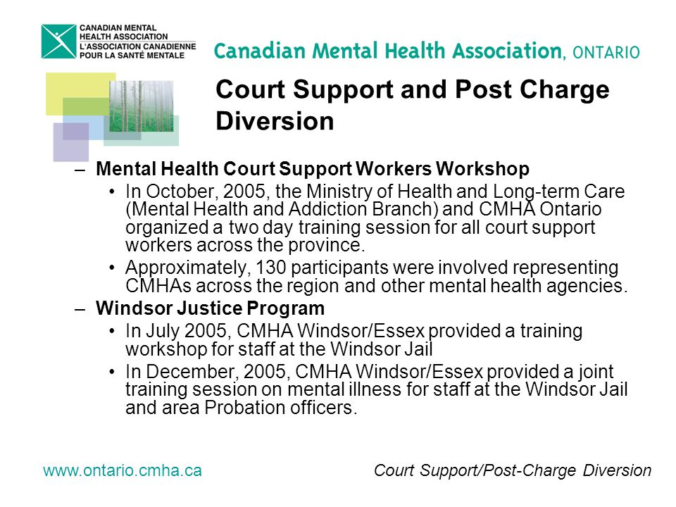 www.ontario.cmha.ca Court Support and Post Charge Diversion –Mental Health Court Support Workers Workshop In October, 2005, the Ministry of Health and Long-term Care (Mental Health and Addiction Branch) and CMHA Ontario organized a two day training session for all court support workers across the province.