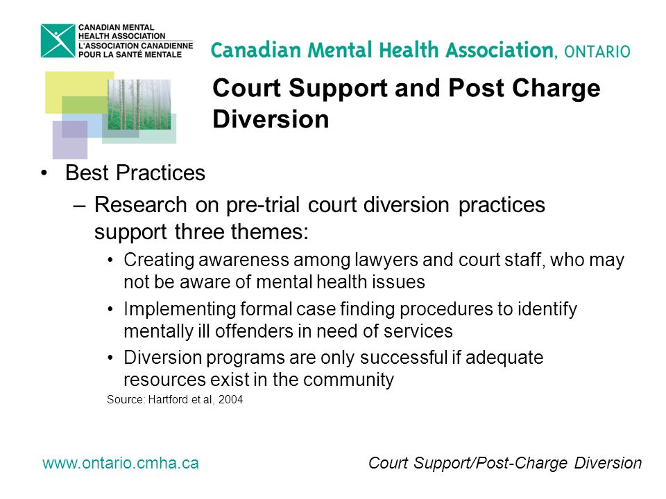 www.ontario.cmha.ca Court Support and Post Charge Diversion Best Practices –Research on pre-trial court diversion practices support three themes: Creating awareness among lawyers and court staff, who may not be aware of mental health issues Implementing formal case finding procedures to identify mentally ill offenders in need of services Diversion programs are only successful if adequate resources exist in the community Source: Hartford et al, 2004 Court Support/Post-Charge Diversion
