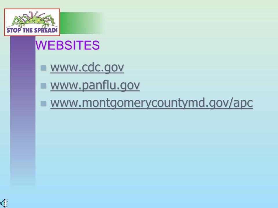 WEBSITES www.cdc.gov www.cdc.gov www.cdc.gov www.panflu.gov www.panflu.gov www.panflu.gov www.montgomerycountymd.gov/apc www.montgomerycountymd.gov/apc www.montgomerycountymd.gov/apc
