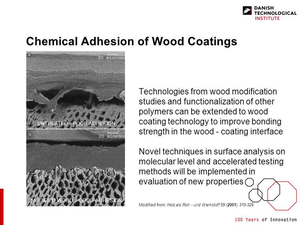 Chemical Adhesion of Wood Coatings Technologies from wood modification studies and functionalization of other polymers can be extended to wood coating technology to improve bonding strength in the wood - coating interface Novel techniques in surface analysis on molecular level and accelerated testing methods will be implemented in evaluation of new properties Modified from: Holz als Roh - und Werkstoff 59 (2001) 319-326 UNTREATED – POOR ADHESION MODIFIED WOOD – GOOD ADHESION