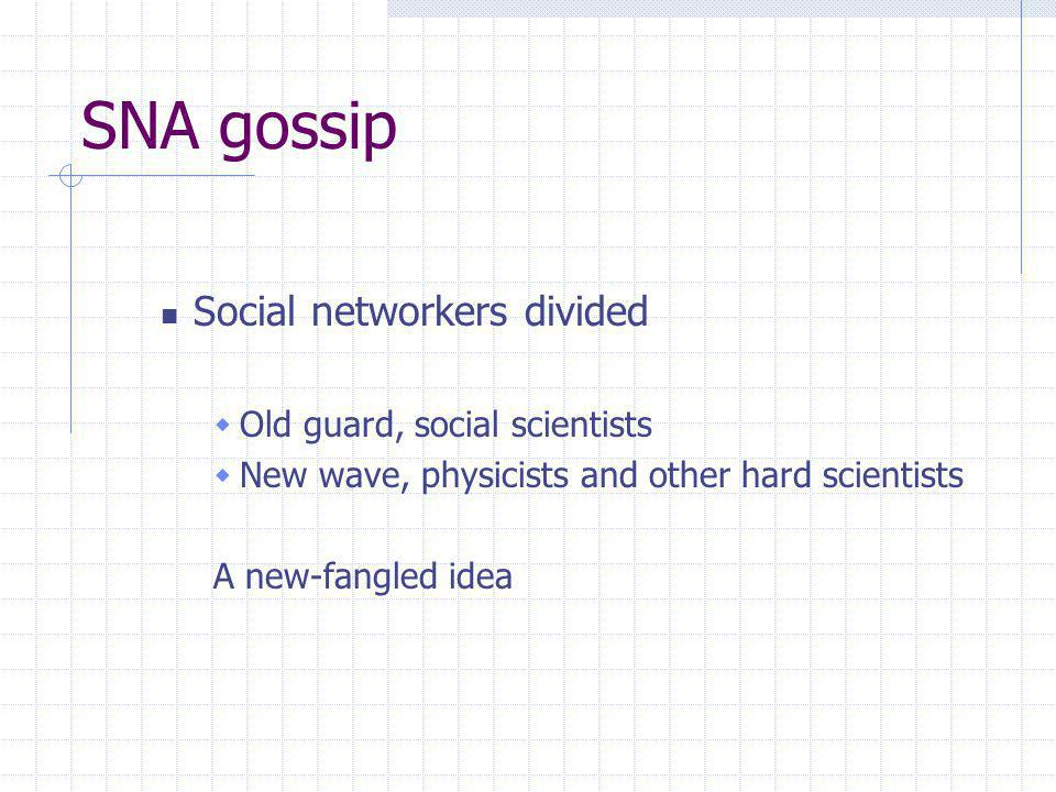 SNA gossip Social networkers divided Old guard, social scientists New wave, physicists and other hard scientists A new-fangled idea