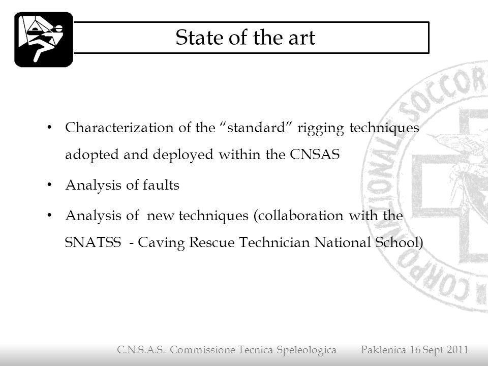 Characterization of the standard rigging techniques adopted and deployed within the CNSAS Analysis of faults Analysis of new techniques (collaboration
