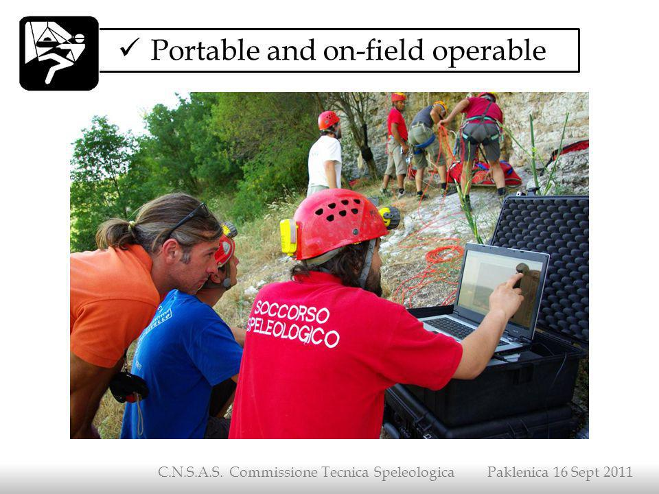 Portable and on-field operable C.N.S.A.S. Commissione Tecnica Speleologica Paklenica 16 Sept 2011