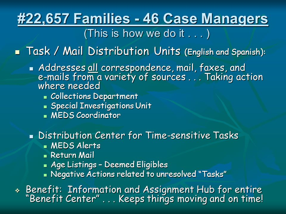 #22,657 Families - 46 Case Managers Task / Mail Distribution Units (English and Spanish): Task / Mail Distribution Units (English and Spanish): Addres