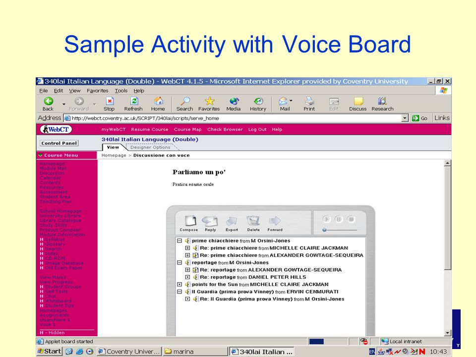 Sample Activity with Voice Board