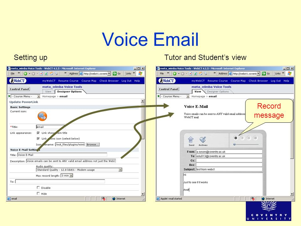 Voice Email Setting upTutor and Students view Record message
