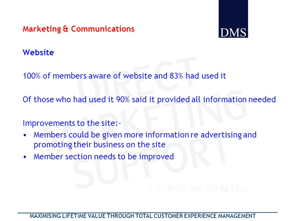 MAXIMISING LIFETIME VALUE THROUGH TOTAL CUSTOMER EXPERIENCE MANAGEMENT Marketing & Communications Website 100% of members aware of website and 83% had used it Of those who had used it 90% said it provided all information needed Improvements to the site:- Members could be given more information re advertising and promoting their business on the site Member section needs to be improved