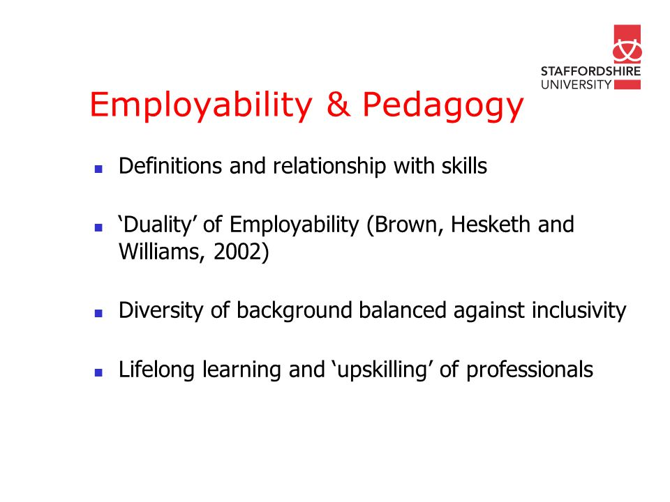 Employability & Pedagogy Definitions and relationship with skills Duality of Employability (Brown, Hesketh and Williams, 2002) Diversity of background balanced against inclusivity Lifelong learning and upskilling of professionals