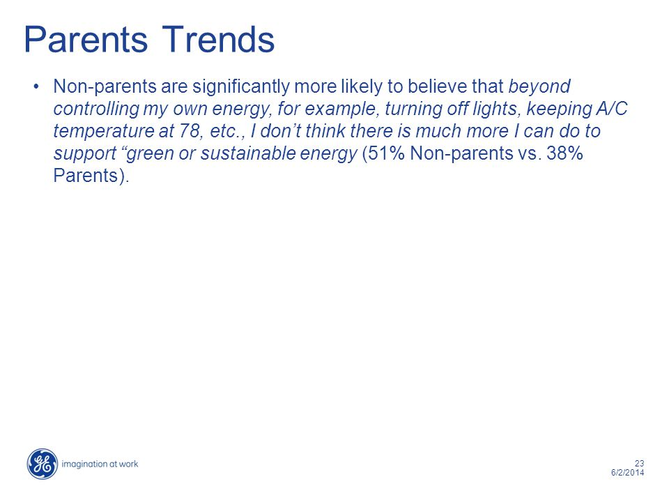 23 6/2/2014 Parents Trends Non-parents are significantly more likely to believe that beyond controlling my own energy, for example, turning off lights