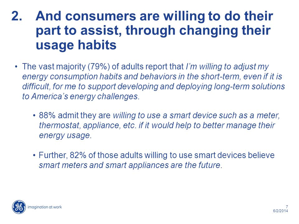 7 6/2/2014 2.And consumers are willing to do their part to assist, through changing their usage habits The vast majority (79%) of adults report that Im willing to adjust my energy consumption habits and behaviors in the short-term, even if it is difficult, for me to support developing and deploying long-term solutions to Americas energy challenges.