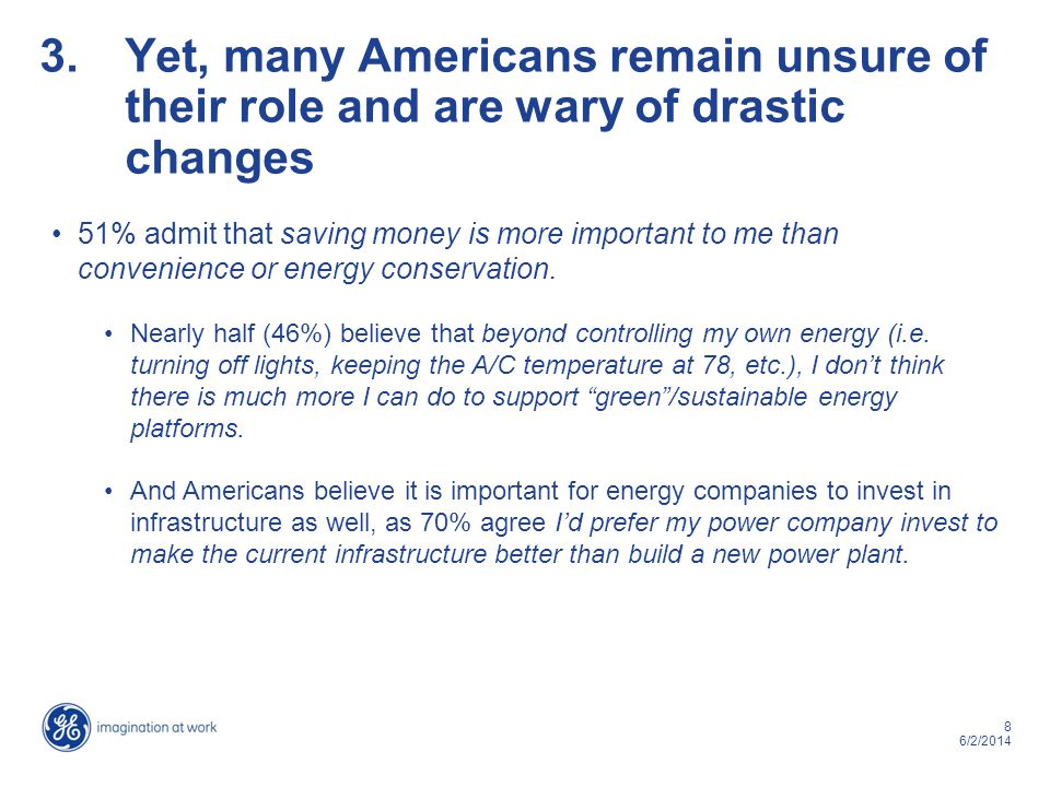 8 6/2/2014 3.Yet, many Americans remain unsure of their role and are wary of drastic changes 51% admit that saving money is more important to me than
