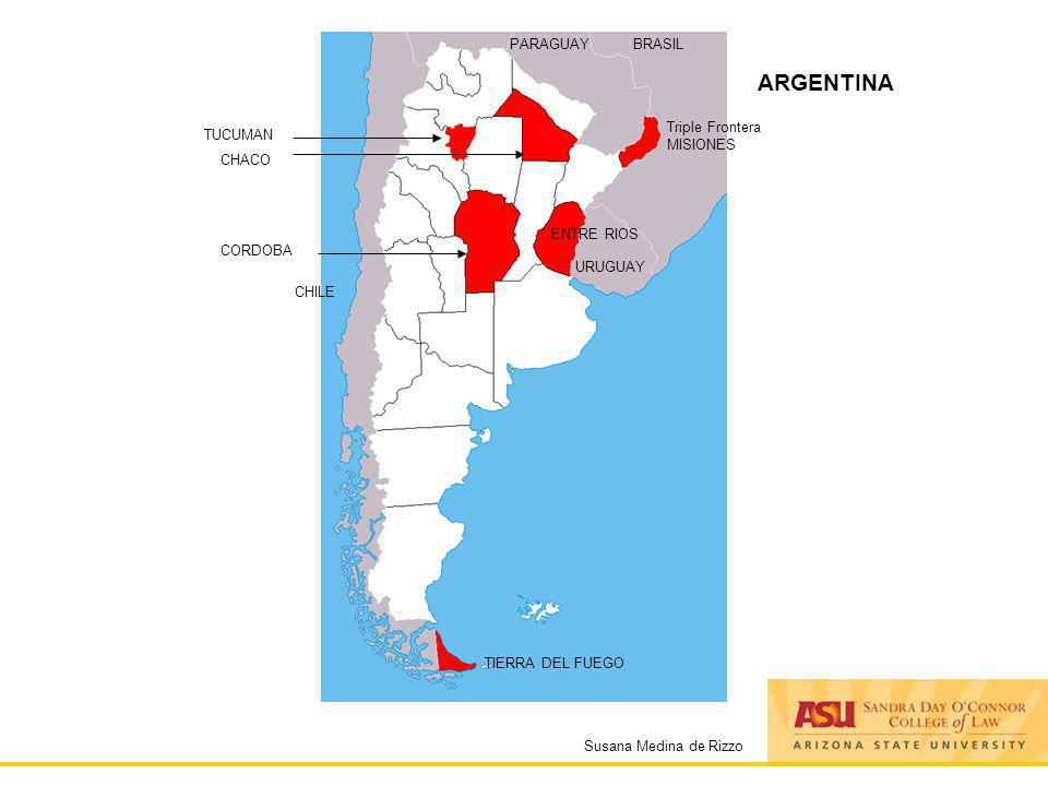 Susana Medina de Rizzo ARGENTINA PARAGUAYBRASIL URUGUAY Triple Frontera MISIONES CORDOBA CHILE TIERRA DEL FUEGO ENTRE RIOS CHACO TUCUMAN
