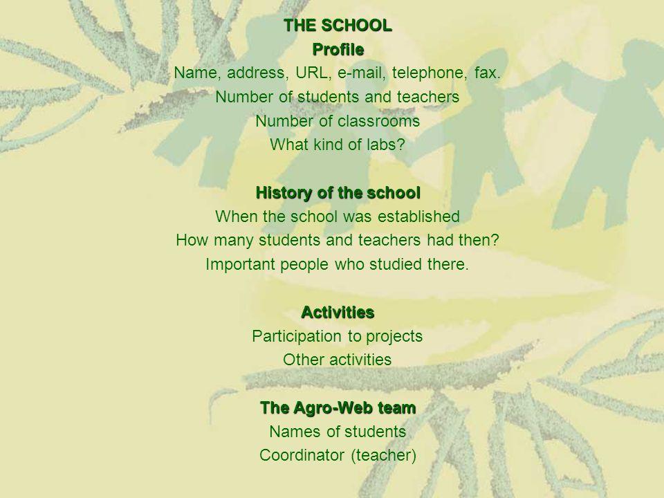 ΤHE SCHOOL Profile Name, address, URL, e-mail, telephone, fax. Number of students and teachers Number of classrooms What kind of labs? History of the