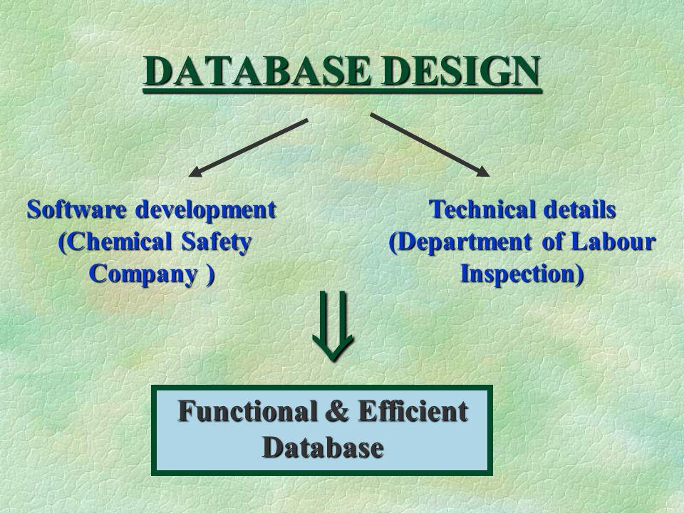 DATABASE DESIGN Software development (Chemical Safety Company ) (Chemical Safety Company ) Technical details (Department of Labour Inspection) Functional & Efficient Database