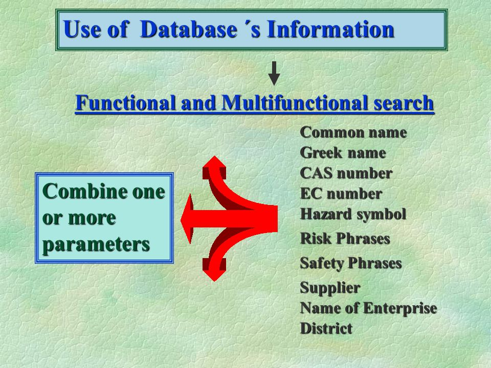 Use of Database ´s Information Functional and Multifunctional search Common name Greek name CAS number EC number Hazard symbol Risk Phrases Safety Phrases Supplier Name of Enterprise District Combine one or more parameters