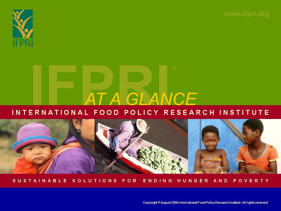 IFPRI ® AT A GLANCE Copyright August 2005 International Food Policy Research Institute. All rights reserved.