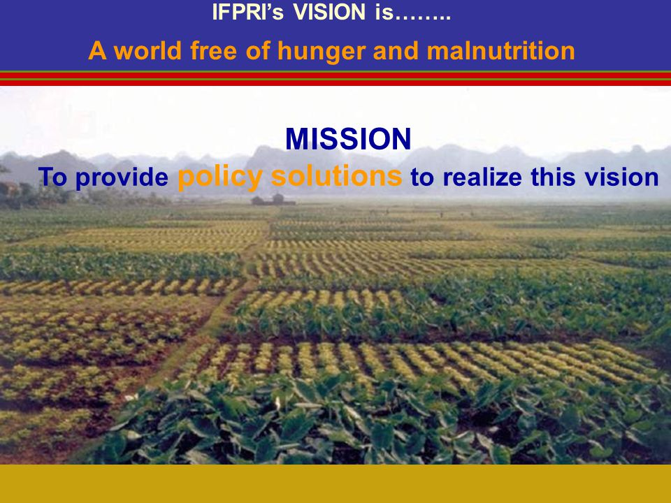 MISSION To provide policy solutions to realize this vision IFPRIs VISION is……..