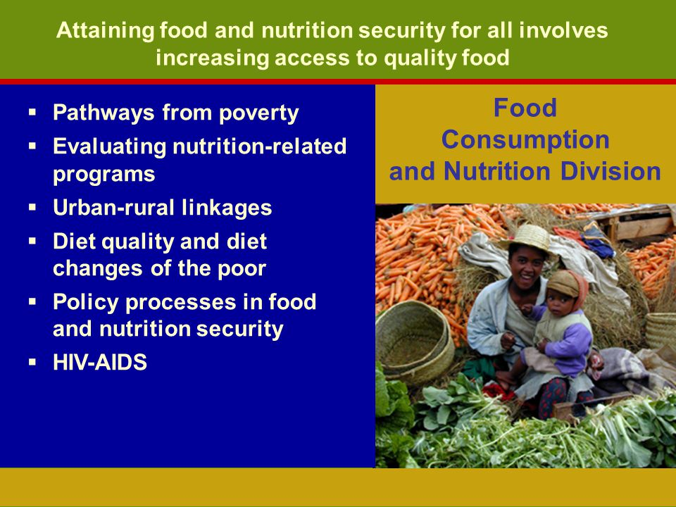 Attaining food and nutrition security for all involves increasing access to quality food Food Consumption and Nutrition Division Pathways from poverty