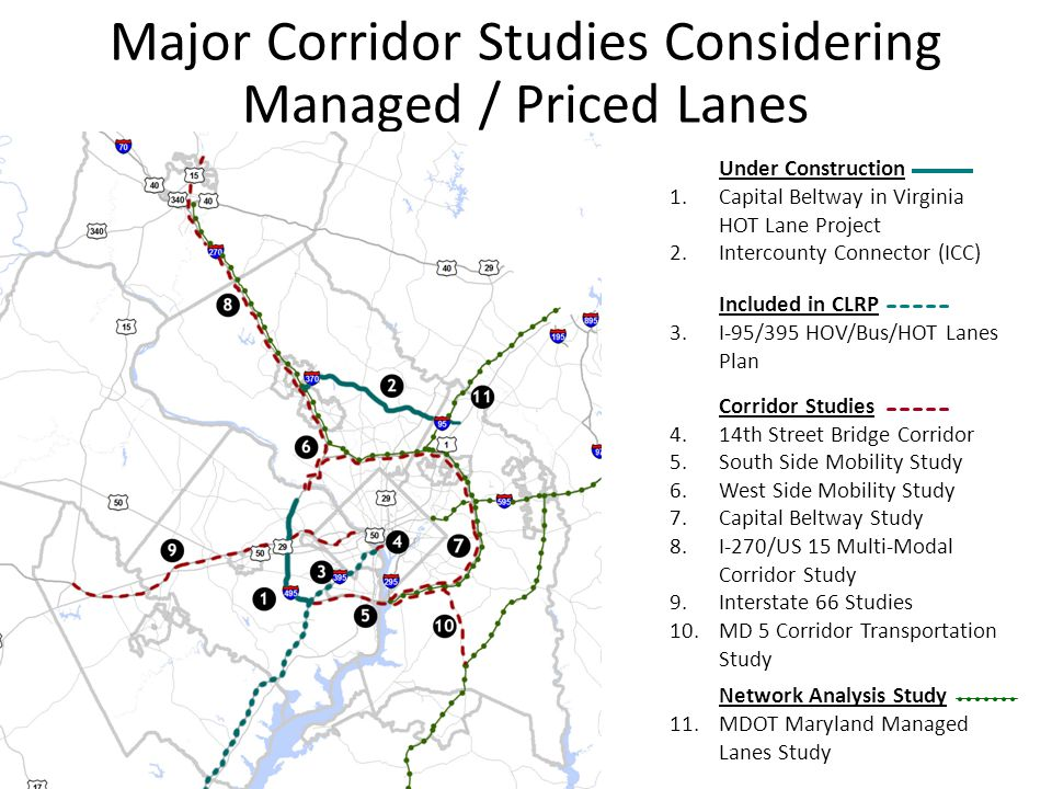 Major Corridor Studies Considering Managed / Priced Lanes Under Construction 1.Capital Beltway in Virginia HOT Lane Project 2.Intercounty Connector (ICC) Included in CLRP 3.I-95/395 HOV/Bus/HOT Lanes Plan Corridor Studies 4.14th Street Bridge Corridor 5.South Side Mobility Study 6.West Side Mobility Study 7.Capital Beltway Study 8.I-270/US 15 Multi-Modal Corridor Study 9.Interstate 66 Studies 10.MD 5 Corridor Transportation Study Network Analysis Study 11.MDOT Maryland Managed Lanes Study