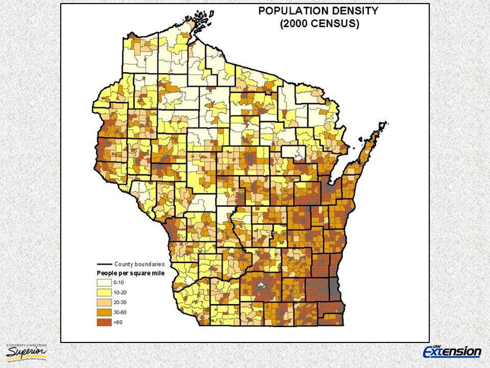 Percentage Population Change by Decade 1900 – 2000 Wisconsin United States Northwest Wisconsin