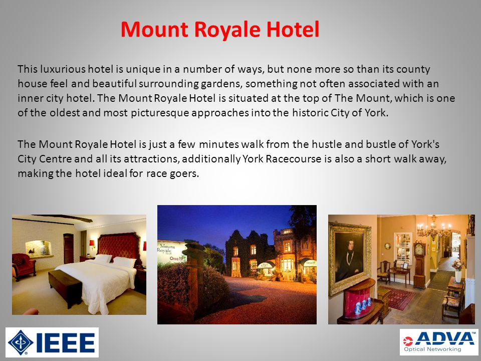 Mount Royale Hotel This luxurious hotel is unique in a number of ways, but none more so than its county house feel and beautiful surrounding gardens, something not often associated with an inner city hotel.