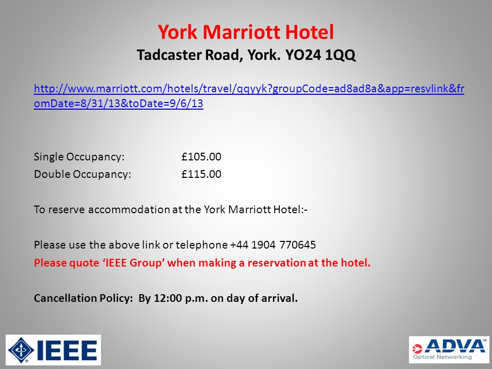 York Marriott Hotel Tadcaster Road, York.
