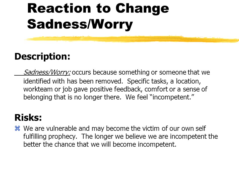 Reaction to Change Sadness/Worry Description: Sadness/Worry: occurs because something or someone that we identified with has been removed.