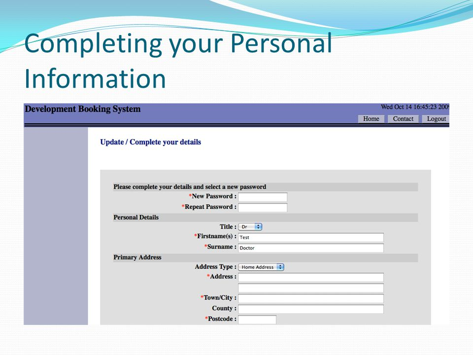 Completing your Personal Information