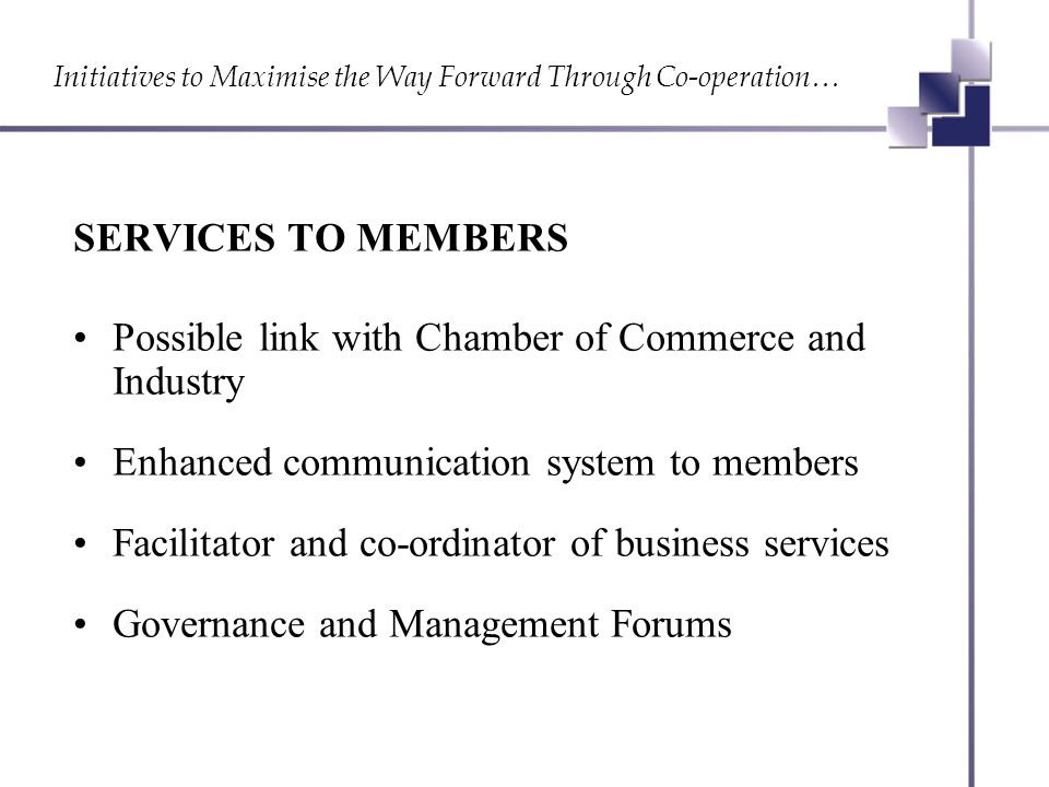 Initiatives to Maximise the Way Forward Through Co-operation… SERVICES TO MEMBERS Possible link with Chamber of Commerce and Industry Enhanced communication system to members Facilitator and co-ordinator of business services Governance and Management Forums