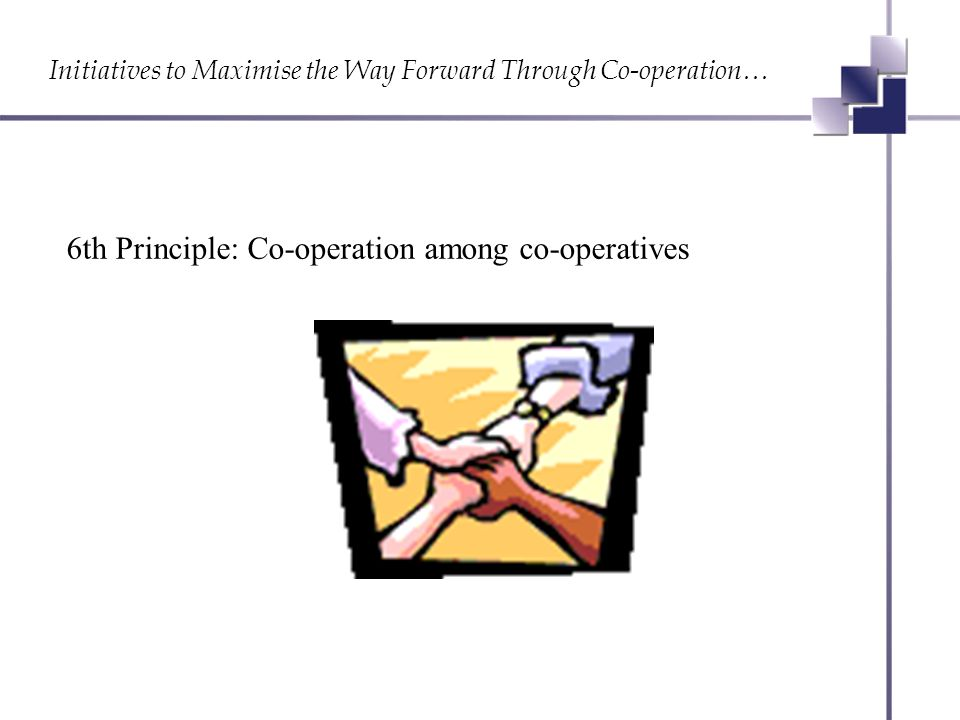 Initiatives to Maximise the Way Forward Through Co-operation… 6th Principle: Co-operation among co-operatives