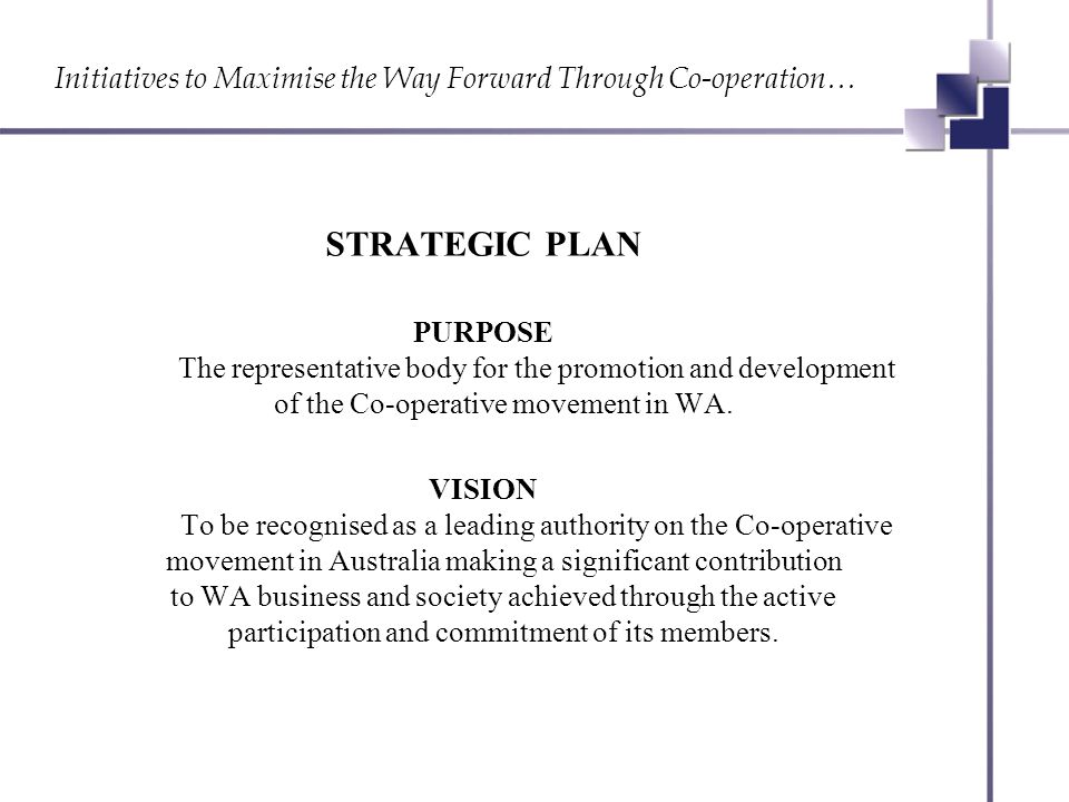 Initiatives to Maximise the Way Forward Through Co-operation… SERVICES TO MEMBERS Development of business systems i.e.