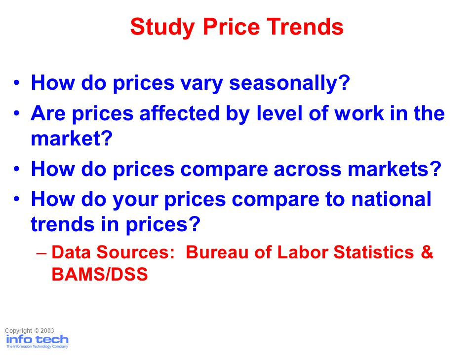How do prices vary seasonally? Are prices affected by level of work in the market? How do prices compare across markets? How do your prices compare to