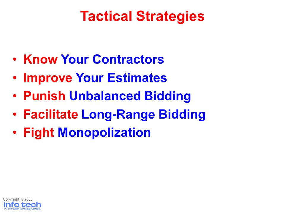 Know Your Contractors Improve Your Estimates Punish Unbalanced Bidding Facilitate Long-Range Bidding Fight Monopolization Tactical Strategies Copyrigh