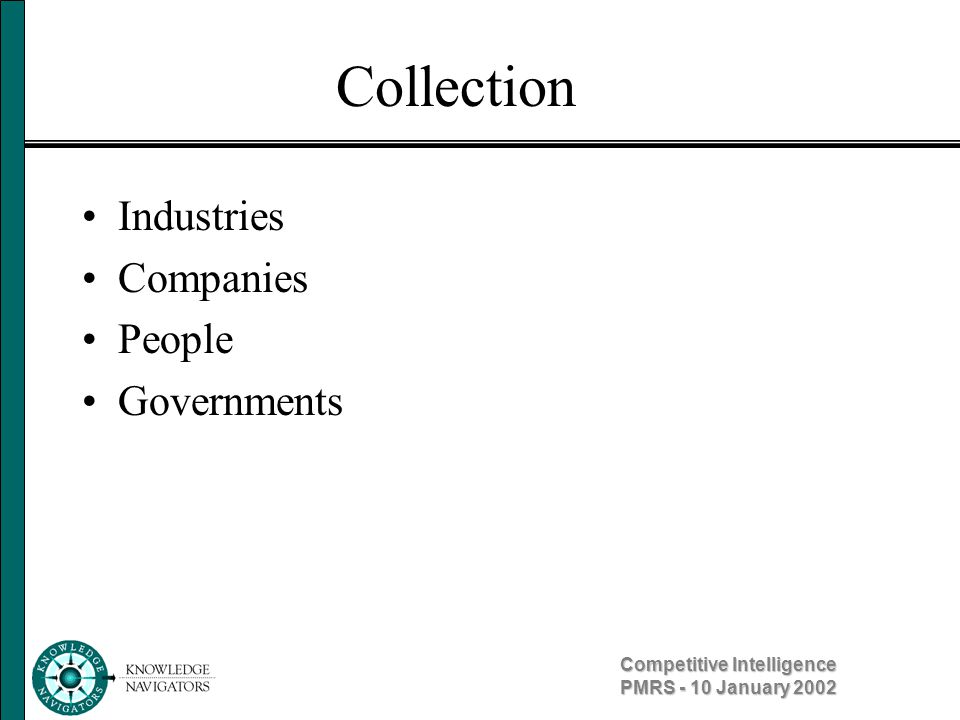 Competitive Intelligence PMRS - 10 January 2002 Collection Industries Companies People Governments